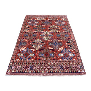 Red Afghan Ersari Tribal Design Wool Hand Knotted For Sale