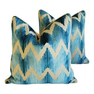 "Boho Chic Chevron Flamestitch Cut Aqua Velvet Feather/Down Pillows 24"" Square - Pair For Sale"