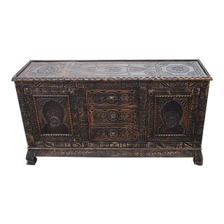 Moroccan Berber Style Dark Brown Wooden Media Stand For Sale