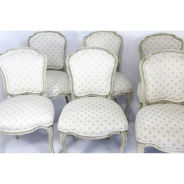 White Late 20th Century Vintage Upholstered Dining Chairs- Set of 6 For Sale - Image 8 of 13