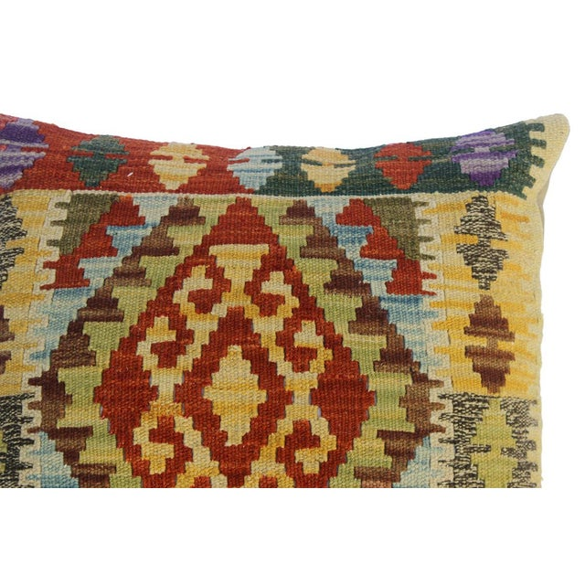 "Chu Gold/Rust Hand-Woven Kilim Throw Pillow(18""x18"") For Sale - Image 4 of 6"