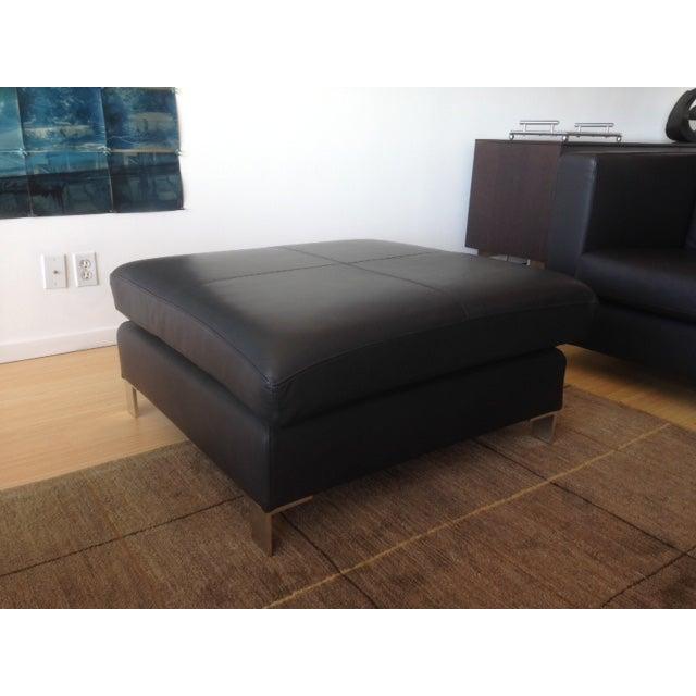 Verdesign Dark Grey Leather Modern Sofa & Ottoman - Image 7 of 11