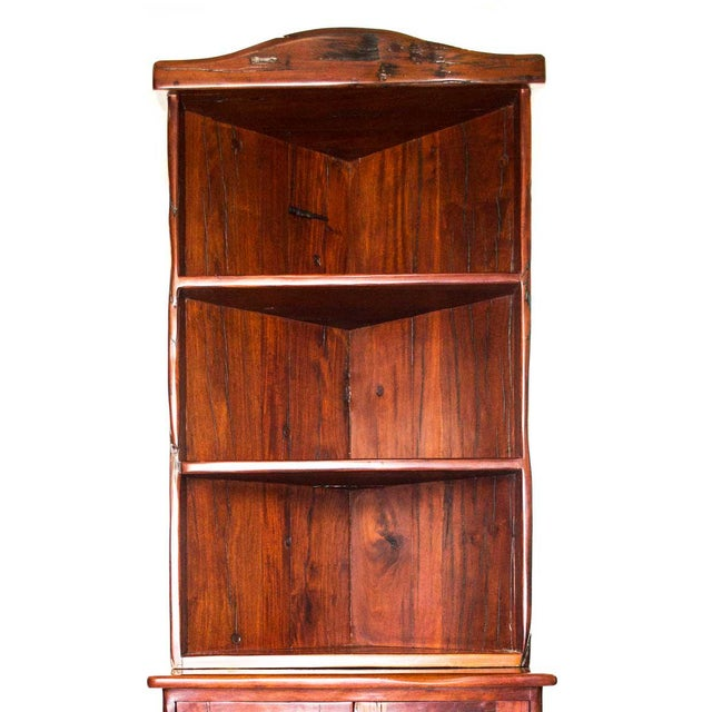 African Antique Railroad Hand Carved Red Jarrah Wood Corner Bookcase For Sale - Image 3 of 13