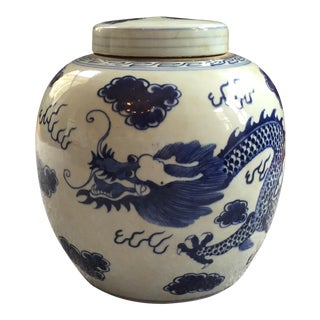 Blue & White Ginger Jar with Dragon