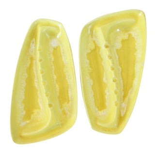 Yellow Glazed Midcentury Ashtrays - Pair