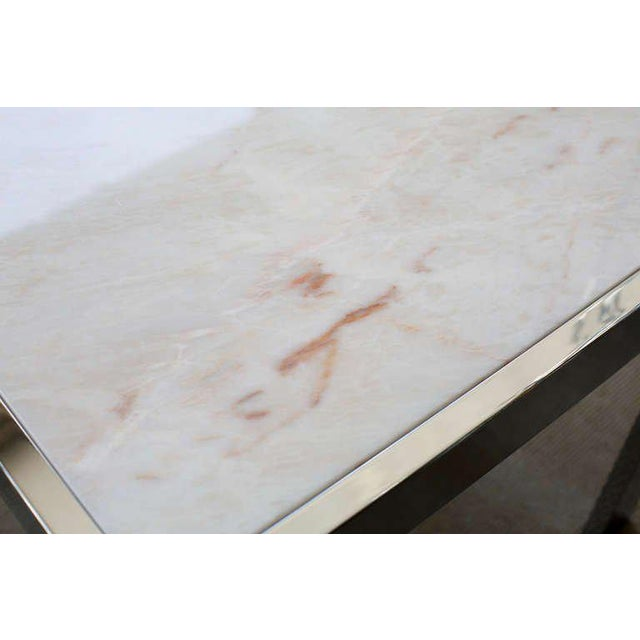 Marble & Steel Side Tables - A Pair For Sale - Image 5 of 6