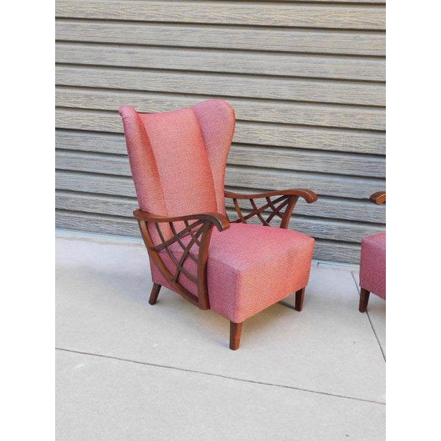 1940s Vintage Swedish Modernist Winged Back Spider Web Armchairs- a Pair For Sale - Image 10 of 13