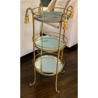 Gold Hollywood Regency Rope & Tassel Mirrored Table Preview