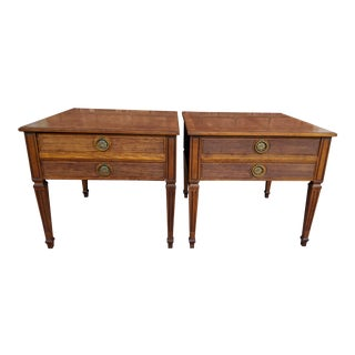 Henredon/W & J Sloane Fruitwood Square End/Lamp Tables - a Pair For Sale