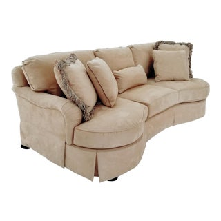 Modern Lexington Furniture Kidney Shaped Micro-Suede Sofa For Sale