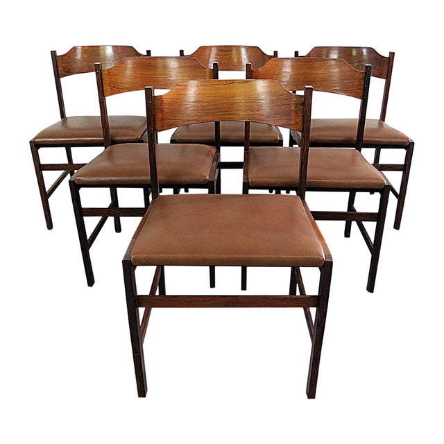 Rosewood Frattini Rosewood Dining Side Chairs - Set of 6 For Sale - Image 7 of 7