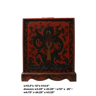 Chinese Distressed Red Black Dragon Graphic Trunk Box Chest Preview