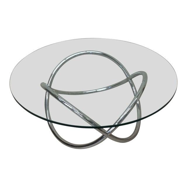 Mid Century Chrome Tubular Infinity Coffee Table For Sale
