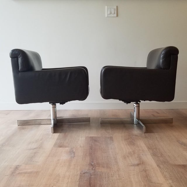 Modern 1980s Leather Swivel Reclining Chairs - a Pair For Sale - Image 3 of 12