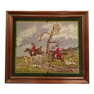 Vintage Framed Hand Done Fox Hunt Scene Needlepoint Picture For Sale