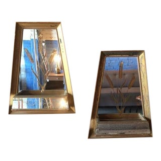 Mid-Century Wooden Mirror Planters - A Pair
