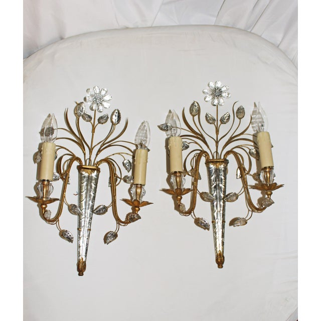 Metal Mid Century French Glass & Gilt Metal Icicle Sconces - a Pair For Sale - Image 7 of 7