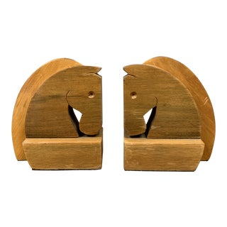 Vintage Hard Carved Horse Bookends - a Pair For Sale