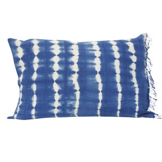 Royal Blue Dyed Striped Rectangular Pillow For Sale