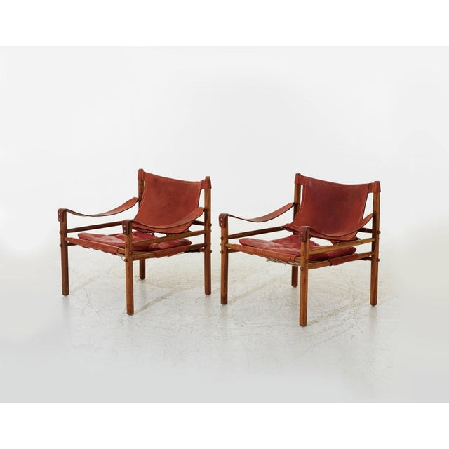Mid 20th Century Arne Norell Rosewood and Leather Safari Sirocco Chairs, Sweden, 1960s For Sale - Image 5 of 5