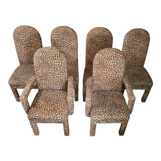 MCM Leopard Dining Chairs- Set of 6 For Sale