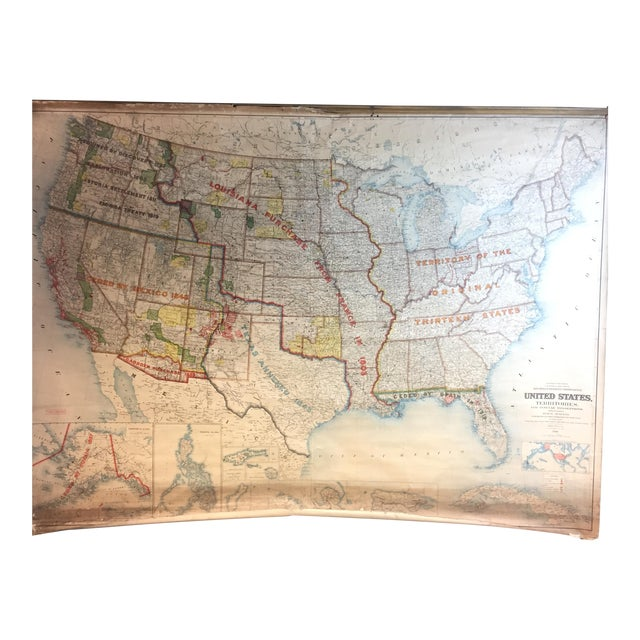 1900 Antique Department of the Interior USA & Territories Wall Map For Sale
