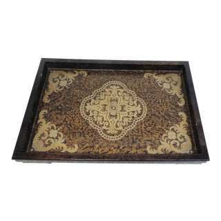 Asian Lacquered Decorative Modern Tray in Brown and Gold