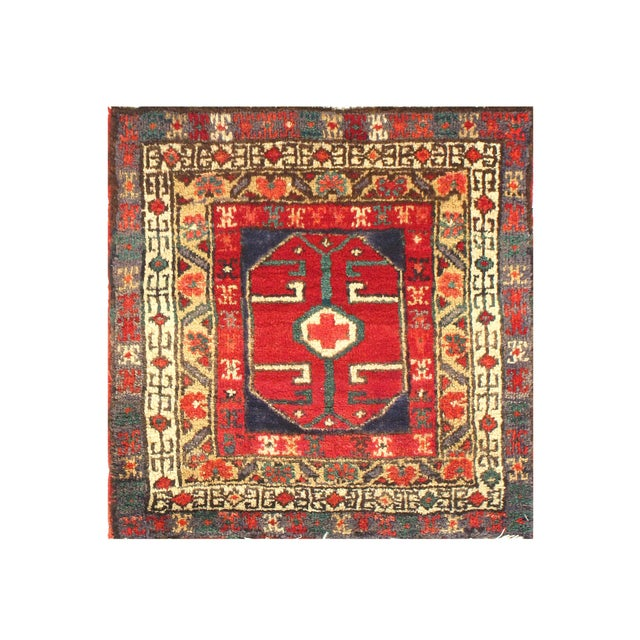 Early 20th Century Antique Persian Hamadan Rug - 2′ × 2′ For Sale - Image 4 of 4
