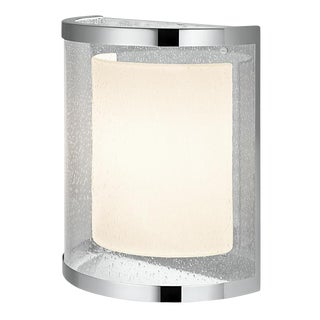 Curved Polished Chrome Wall Light With Internal Shade For Sale