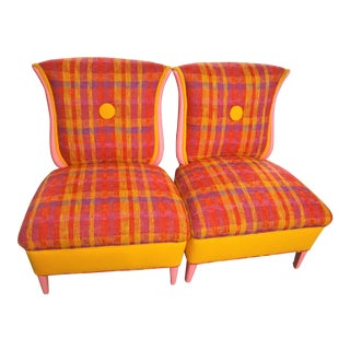Tibetan Style Tulku Slipper Chairs - A Pair For Sale