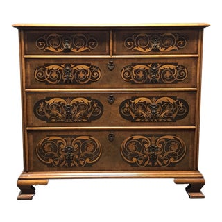Century Furniture Grand Rapids Chippendale Inlaid Walnut 2 Over 3 Chest For Sale