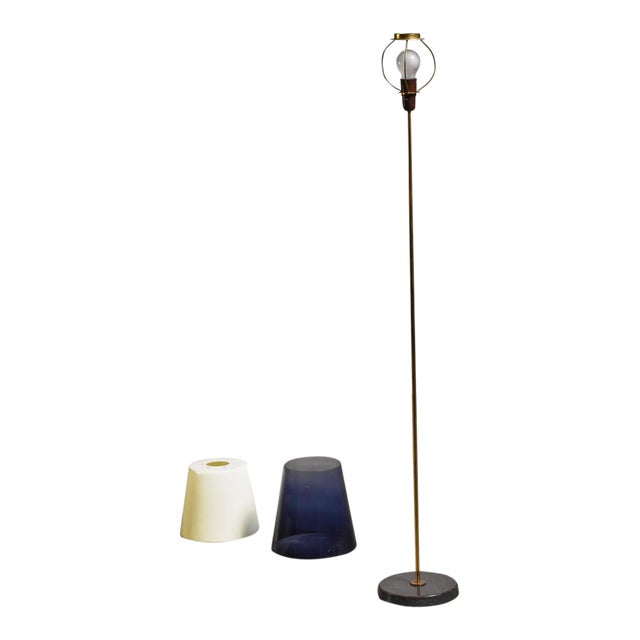 Yki Nummi Floor Lamp With Two Layered Shade for Orno, Finland, 1960s For Sale
