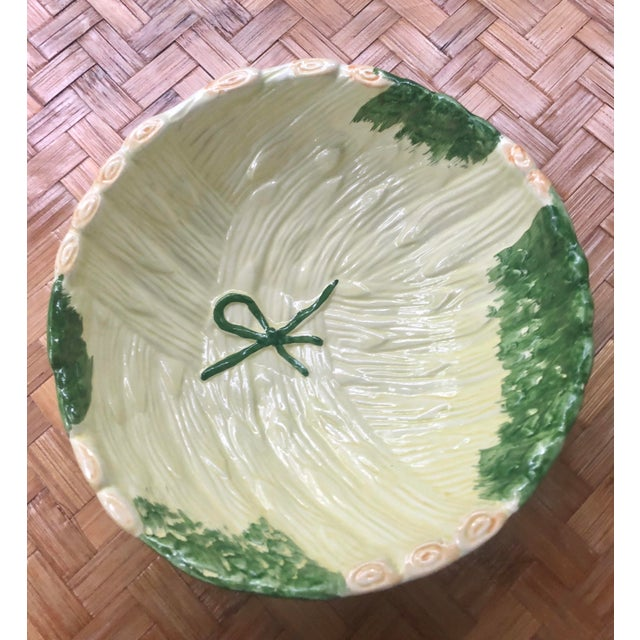 Shabby Chic Green Ceramic Asparagus Bowl For Sale - Image 4 of 10