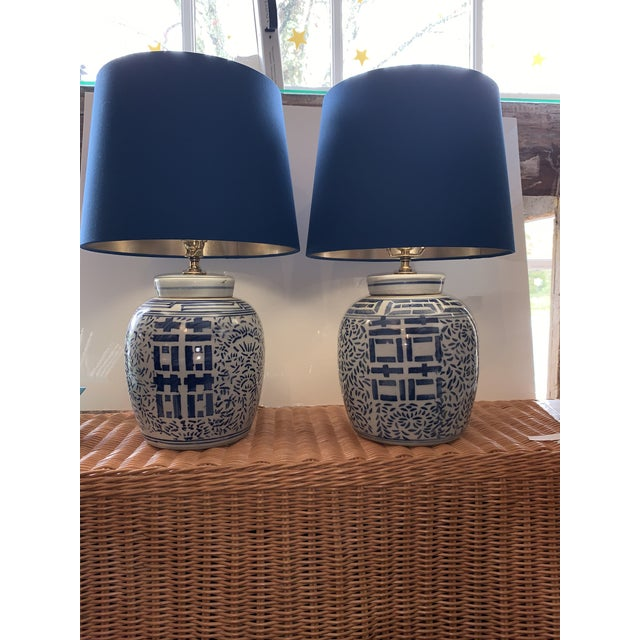 2010s Blue & White Double Happiness Lamps - a Pair For Sale - Image 5 of 5
