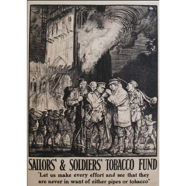Art Nouveau 1915 Original British Tobacco Poster, Soldiers and Sailors Tobacco Fund For Sale - Image 3 of 3
