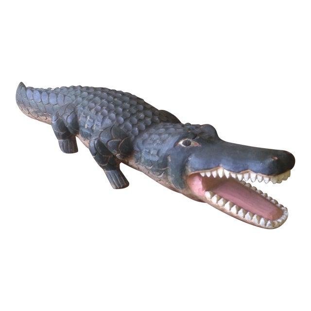 Vintage Carved Wood Folk Art Alligator - Image 1 of 11