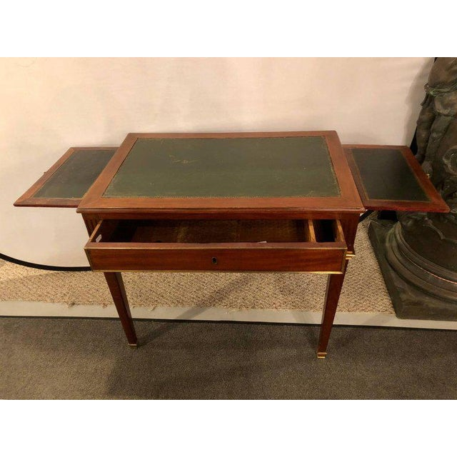 Early 20th Century Dimenutive Leather Top Desk With Pull Out Sides And Bronze Mounts Stamped Jansen For Sale - Image 5 of 11