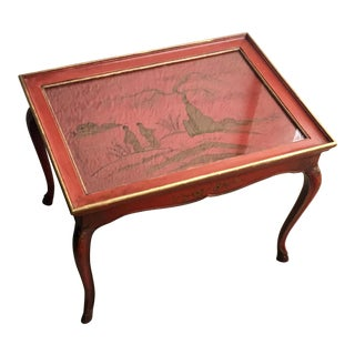 1950s Chinoiserie Red Hand Painted Coffee Table For Sale