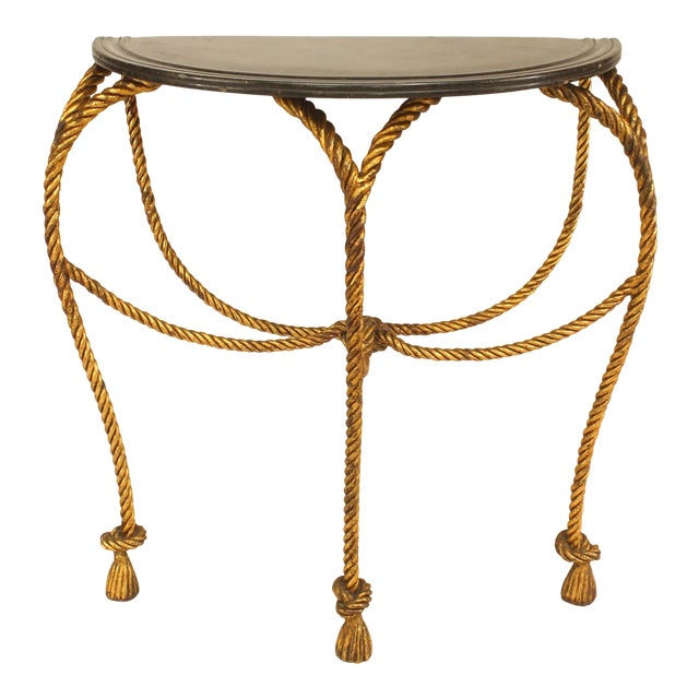 Hollywood Regency Rope and Tassel Design Console Table For Sale