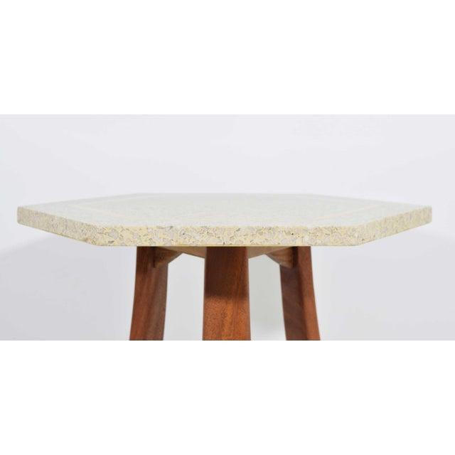 Mid-Century Modern Harvey Probber Hexagonal Terrazzo Side Table For Sale - Image 3 of 9