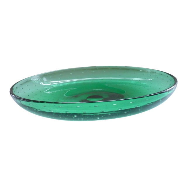 Green Blown Glass Bowl For Sale