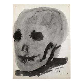 Skull Watercolor by James Bone, 1955 For Sale