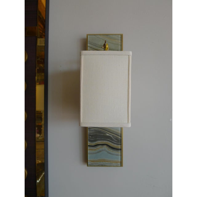Black Modern Brass and Marbleized Wall Sconce V1 by Paul Marra For Sale - Image 8 of 8