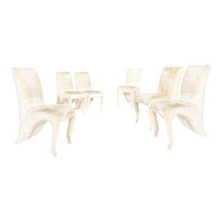 1990s Vintage Dialogica Cream Velvet High backEd Postmodern Splash Dining Chairs- Set of 6 For Sale