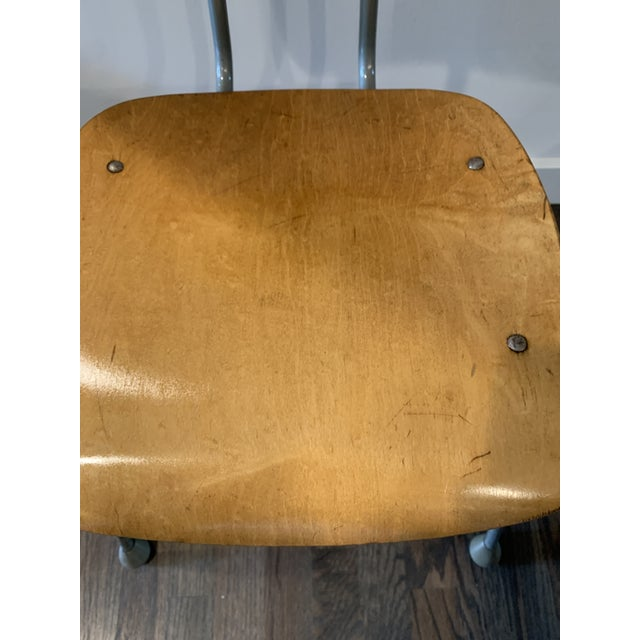 Metal 1950s Vintage Brunswick Wooden School Chairs With Bent Tubular Steel Legs - a Pair For Sale - Image 7 of 11