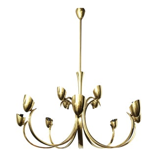Stilnovo Twelve- Light brass Chandelier For Sale