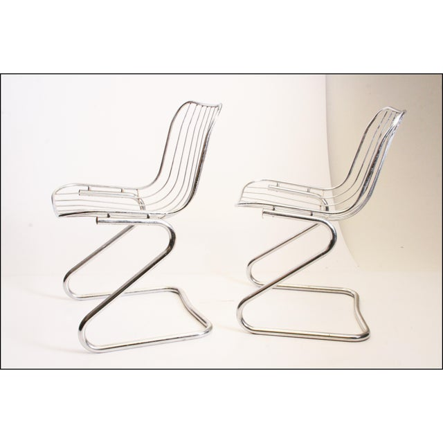 Vintage Italian Chrome Metal Dining Chairs - Set of 4 - Image 9 of 11