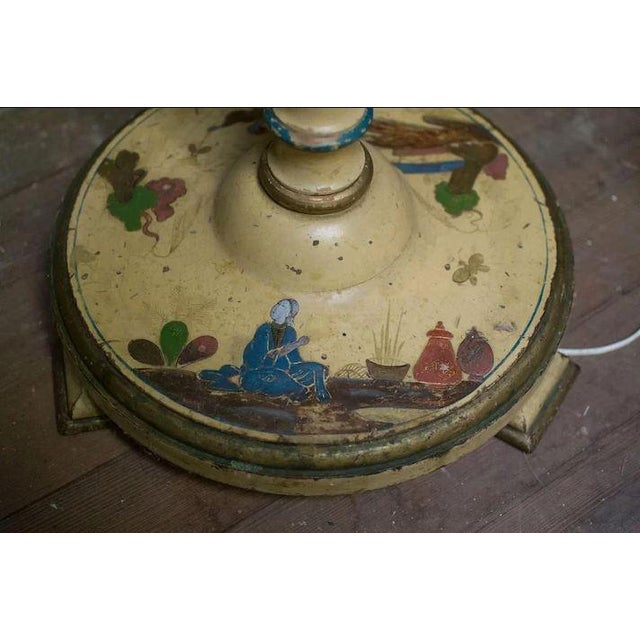 Cream Chinoiserie Paint Decorated Wooden Floor Pole Lamp For Sale - Image 8 of 10