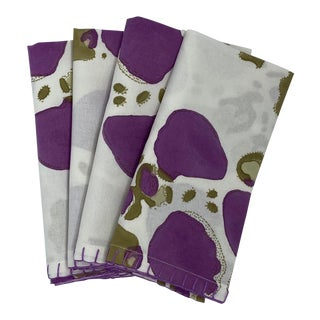 """Nathalie"" Handprinted Lunch Napkins by Tulu - Set of 4 For Sale"