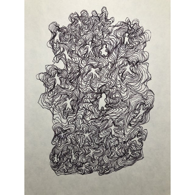 1990s 1991 Ink Abstract Drawing by William Glen Davis For Sale - Image 5 of 5